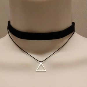 Jewelry - 3/$20 BLACK & SILVER DOUBLE STRUNG CHOKER NECKLACE